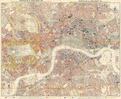 Data Visualization Drawing - Descriptive Map Of London Poverty - Data Visualization Map - Map Of London - Historic Map by Studio Grafiikka