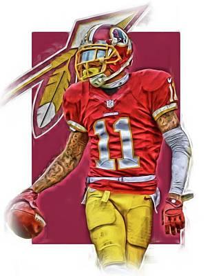 Football Mixed Media - Desean Jackson Washington Redskins Oil Art by Joe Hamilton