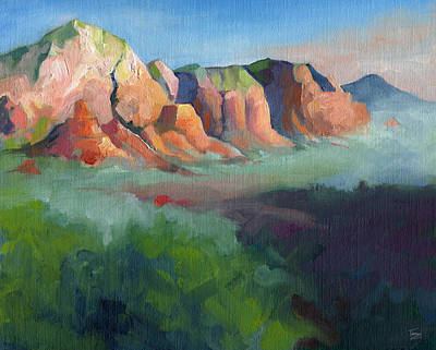 Desert Afternoon Mountains Sky And Trees Art Print by Catherine Twomey