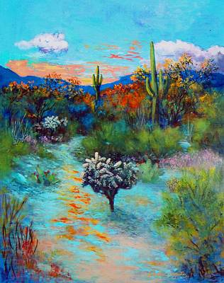Desert At Dusk Art Print by M Diane Bonaparte