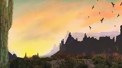Digital Art - Desert At Sunset by Joan Scarbrough