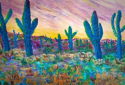 Painting -  Sunset Tucson Az by Anne Sands