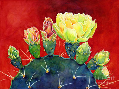 Prickly Pear Painting - Desert Bloom 3 by Hailey E Herrera