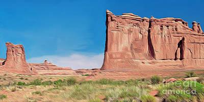 Mixed Media - desert Butte by Walter Colvin