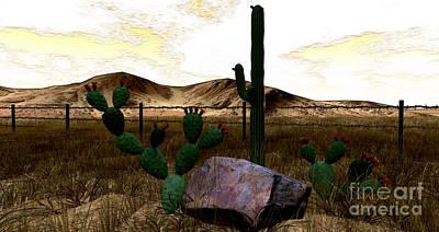 Secondlife Wall Art - Digital Art - Desert Cactus Evening by Evanescence Cuntiva
