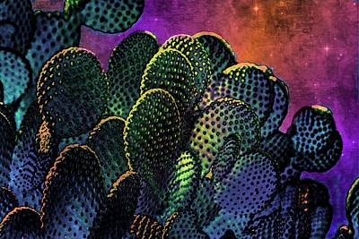 Mixed Media - Desert Cactus Starlight by Barbara Chichester