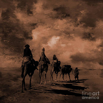Painting - Desert Camels Art 01 by Gull G
