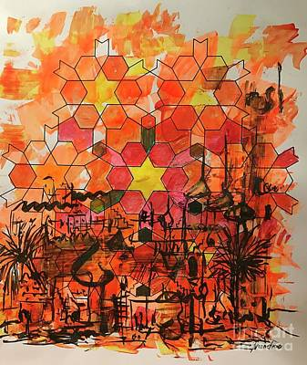 Mixed Media - Desert Cityscape by Yvonne Ayoub
