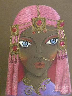 Drawing - Desert Diva -- Whimsical Arabic Woman by Jayne Somogy