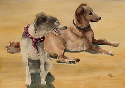 Abandoned Pets Painting - Desert Dogs, Original Watercolor by David K Myers