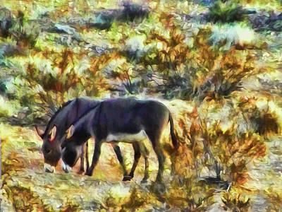 Digital Art - Desert Donkeys by Leslie Montgomery
