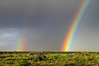 Photograph - Desert Double Rainbow by Bonnie Follett