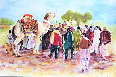 Painting - Desert Event by Khalid Saeed
