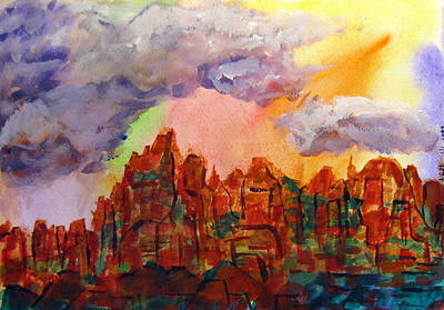 Art Print featuring the painting Desert Fortress by Arlene Holtz