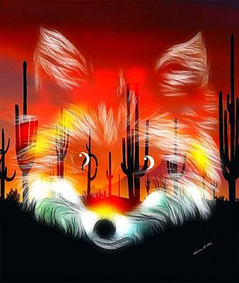 Red Foxes Digital Art - Desert Fox Pup by Madeline  Allen - SmudgeArt