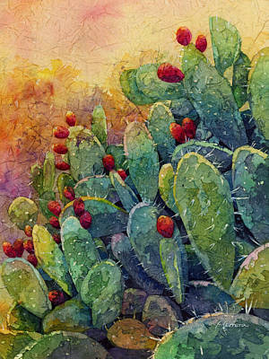 Prickly Pear Painting - Desert Gems 2 by Hailey E Herrera