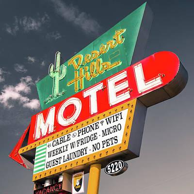 Photograph - Desert Hills Motel Square - Grey Sky - Route 66 Tulsa Oklahoma by Gregory Ballos