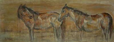 Saudia Painting - Desert Horses by Monica Brown