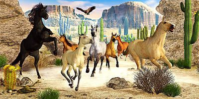 Print featuring the photograph Desert Horses by Peter J Sucy
