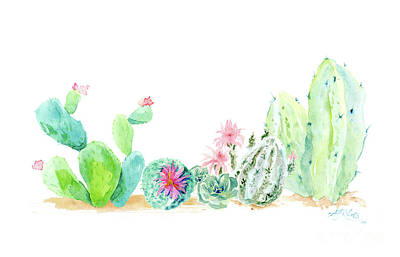 Prickly Pear Painting - Desert In Bloom 2, Watercolor Desert Cacti N Succulents  by Audrey Jeanne Roberts