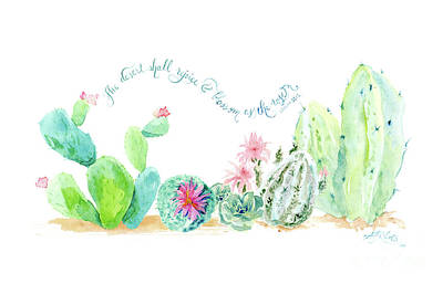 Prickly Pear Painting - Desert In Bloom 2, Watercolor Desert Cacti N Succulents Inspirational Verse by Audrey Jeanne Roberts