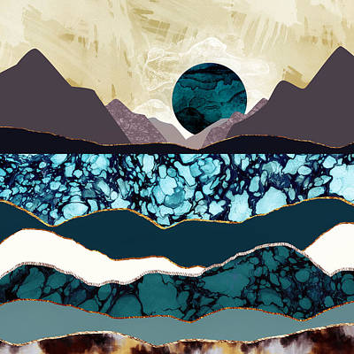 Abstract Landscape Digital Art - Desert Lake by Katherine Smit