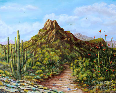 Art Print featuring the painting Desert Landscape Gambel's Quail by Judy Filarecki