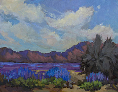 Lupine Painting - Desert Lupines In Bloom by Diane McClary