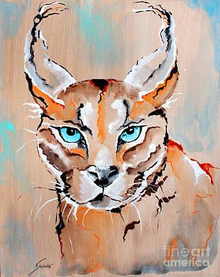 Wildlife Painting - Desert Lynx - Animal Art By Valentina Miletic by Valentina Miletic