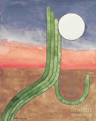 Art Print featuring the painting Desert Moon by LeAnne Sowa