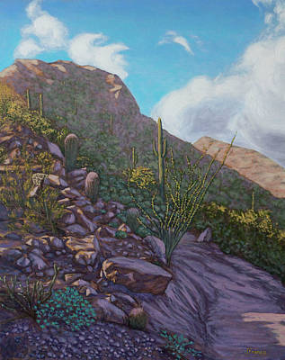Southwest Painting - Desert Mountain Slopes After The Rain by Jeff Franco