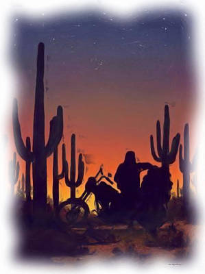 Desert Ride At Sunset Art Print