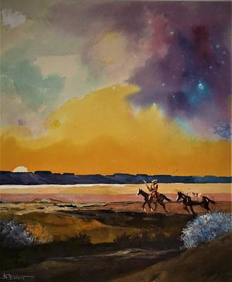 Painting - Desert Rider At Sunset by Al Brown