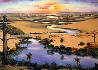 Sanddunes Painting - Desert River by Praisey Peter