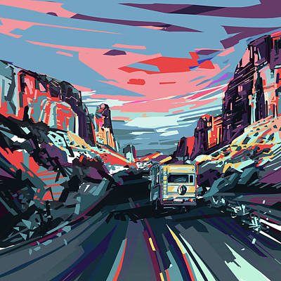 Digital Art - Desert Road Landscape by Bekim Art
