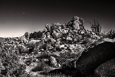 Photograph - Desert Rocks And Half Moon by Roger Passman