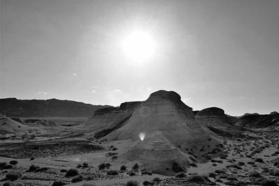 Photograph - Desert Rocks Sun Flare Black And White by Matt Harang