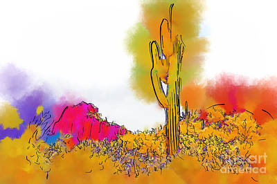 Digital Art - Desert Saguaro In Subtle Abstract by Kirt Tisdale