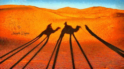 Camels Painting - Desert Shadow by Leonardo Digenio