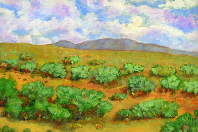 Country Road Painting - Desert Shrubs by Robert Price
