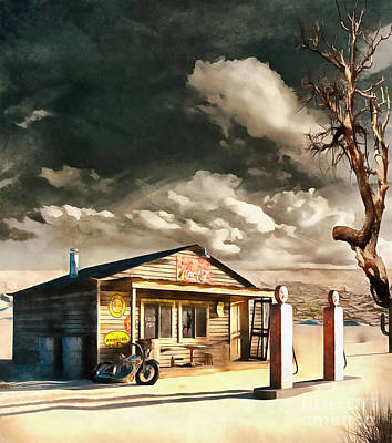 Gas Pumps 1950s Painting - Desert Soil  by L Wright