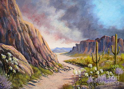 Superstition Mountains Painting - Desert Storm by Shirley Braithwaite Hunt