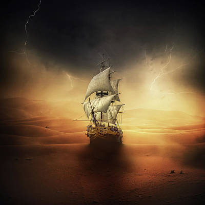 Dark Digital Art - Desert Storm by Zoltan Toth