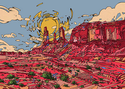 Grand Canyon Digital Art - Desert Sun 2 by Bekim Art
