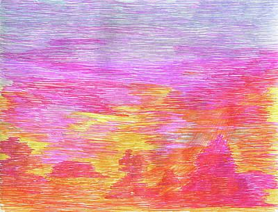Desert Sunset Drawing - Desert Sun 2017 001 by Michael Genevro