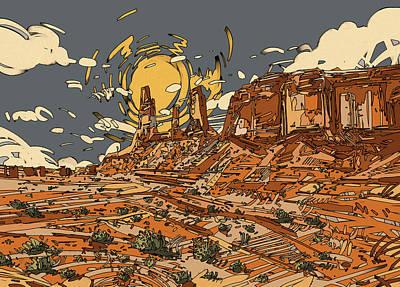 Grand Canyon Digital Art - Desert Sun by Bekim Art