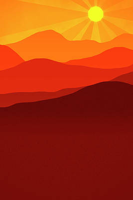 Sun Rays Digital Art - Desert Sunrise by Daniel Hagerman