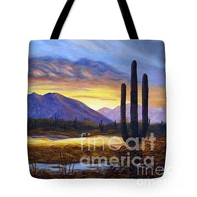 Painting - Desert Sunrise Tote Bag by Judy Filarecki