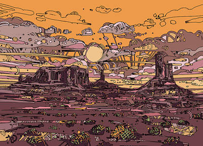 Grand Canyon Digital Art - Desert Sunset 2 by Bekim Art
