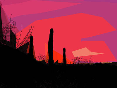 Mixed Media - Desert Sunset In Tucson by Rick Thiemke